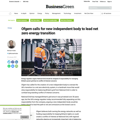 Ofgem calls for new independent body to lead net zero energy transition