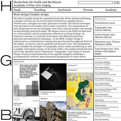 Book design/Graphic design - Hochschule für Grafik und Buchkunst