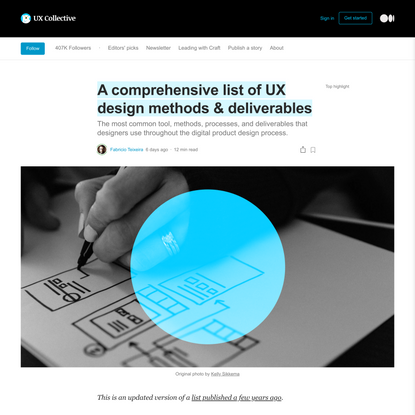 A comprehensive list of UX design methods & deliverables | by Fabricio Teixeira | Jan, 2021 | UX Collective