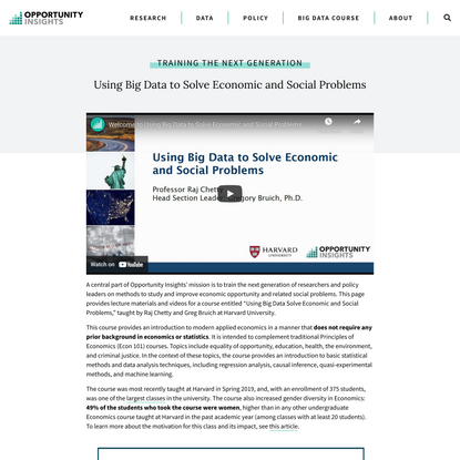 Big Data to Solve Economic and Social Problems   Opportunity Insights