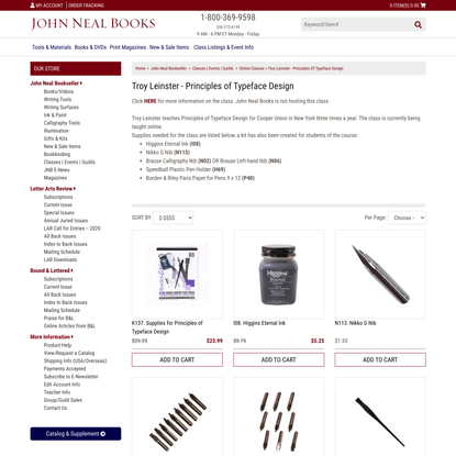 Troy Leinster - Principles of Typeface Design: John Neal Bookseller