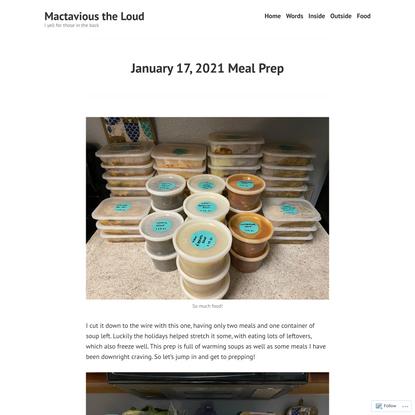 January 17, 2021 Meal Prep – Mactavious the Loud