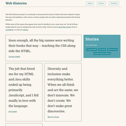 Web Histories - telling the stories of the people behind the open web