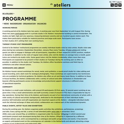 Programme – De Ateliers