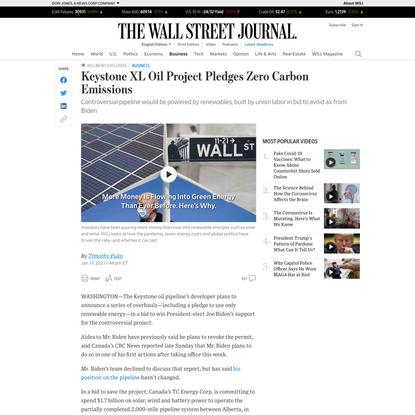 WSJ News Exclusive | Keystone XL Oil Project Pledges Zero Carbon Emissions