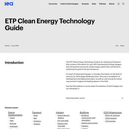 ETP Clean Energy Technology Guide – Analysis - IEA