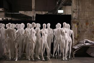 Mannequins stored during Mercedes-Benz fashion week