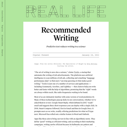 Recommended Writing — Real Life