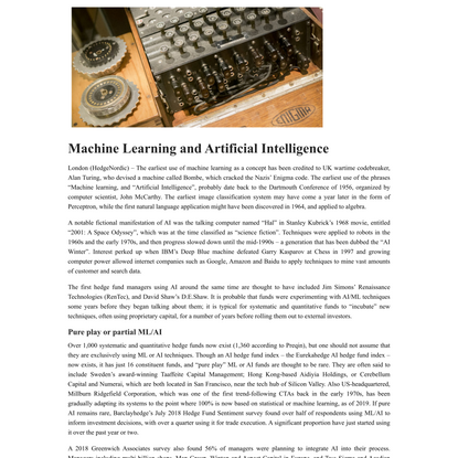 Machine Learning and Artificial Intelligence - HedgeNordic