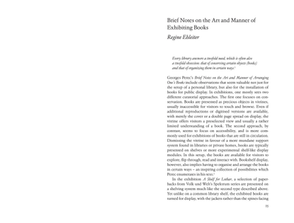 Regine Ehleiter, Brief Notes on The Art and Manner of Exhibiting Books