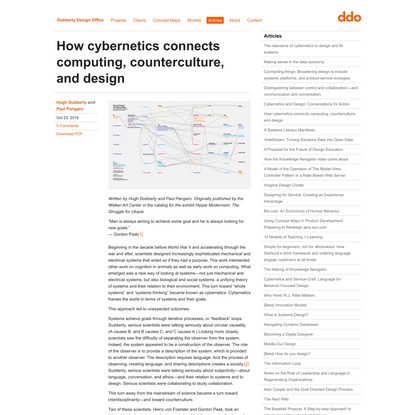 How cybernetics connects computing, counterculture, and design