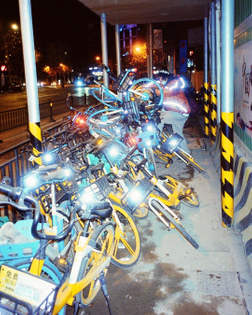 Pile of bike sharing bikes