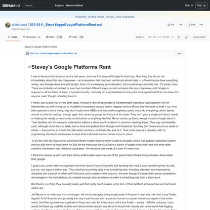 Stevey's Google Platforms Rant