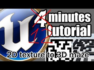 UE 4 Minutes TUTORIAL - 3D Maze (Labyrinth) from Texture using Render Target. 2D picture to 3D