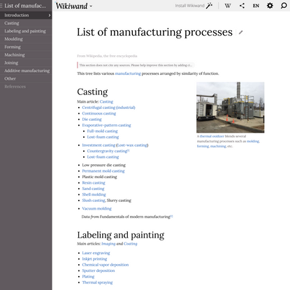 List of manufacturing processes | Wikiwand