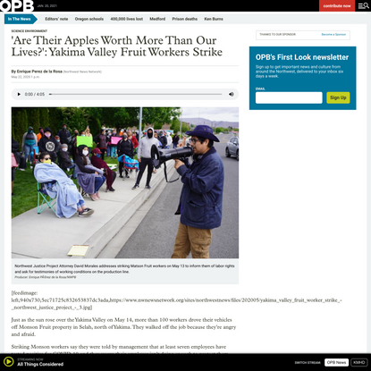 'Are Their Apples Worth More Than Our Lives?': Yakima Valley Fruit Workers Strike