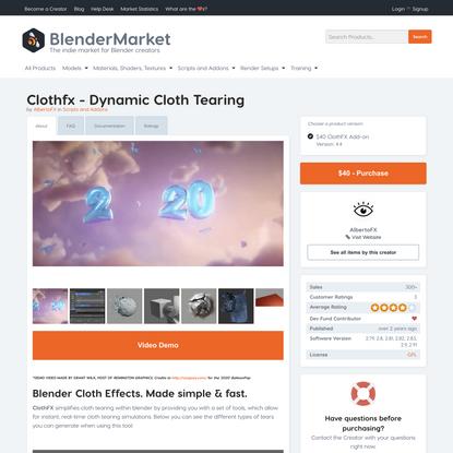 Clothfx - Dynamic Cloth Tearing
