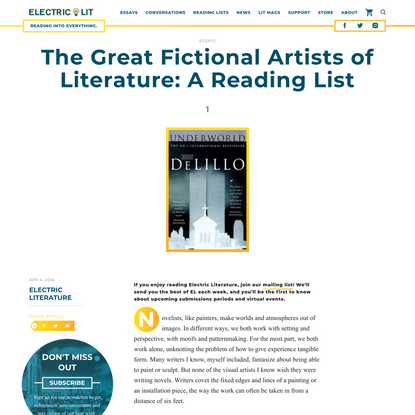 The Great Fictional Artists of Literature: A Reading List - Electric Literature