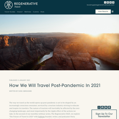 How We Will Travel Post-Pandemic In 2021 | Regenerative Travel