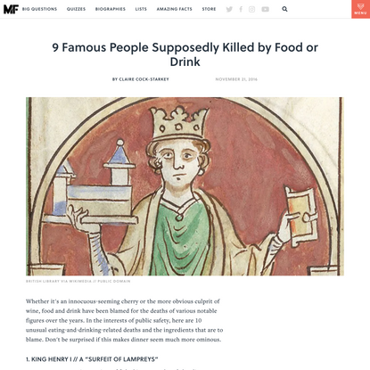 9 Famous People Supposedly Killed by Food or Drink