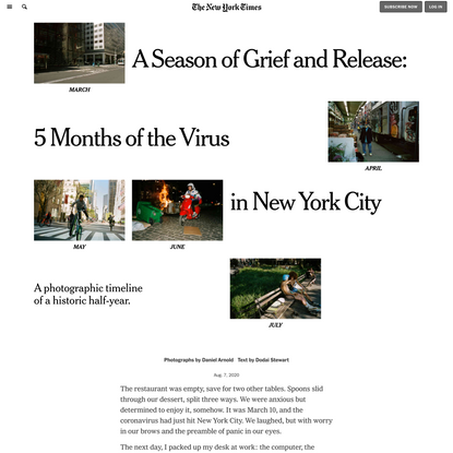 A Season of Grief and Release: 5 Months of the Virus in New York City