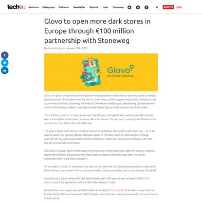 Glovo to open more dark stores in Europe through €100 million partnership with Stoneweg