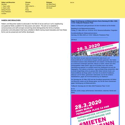 Haben und Brauchen | Was braucht die Kunst in Berlin?