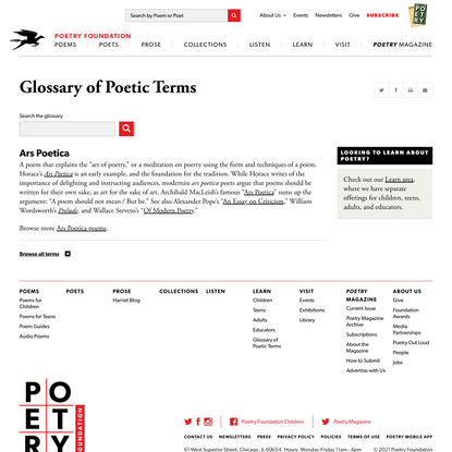 Ars Poetica | Poetry Foundation