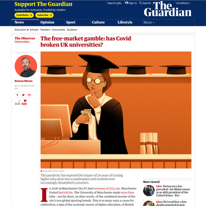 The free-market gamble: has Covid broken UK universities?