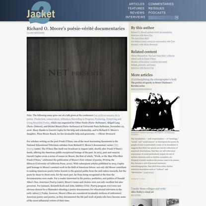 Richard O. Moore's poésie-vérité documentaries | Jacket2