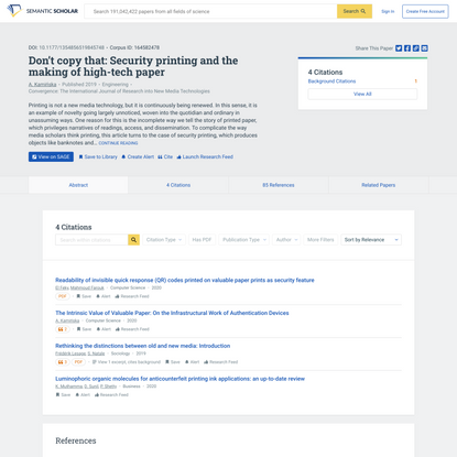 Don't copy that: Security printing and the making of high-tech paper | Semantic Scholar