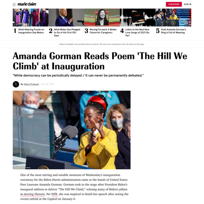 "Read Amanda Gorman's Moving Inauguration Poem ""The Hill We Climb"""