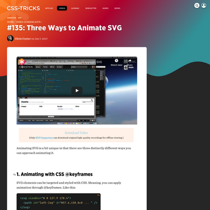 #135: Three Ways to Animate SVG   CSS-Tricks
