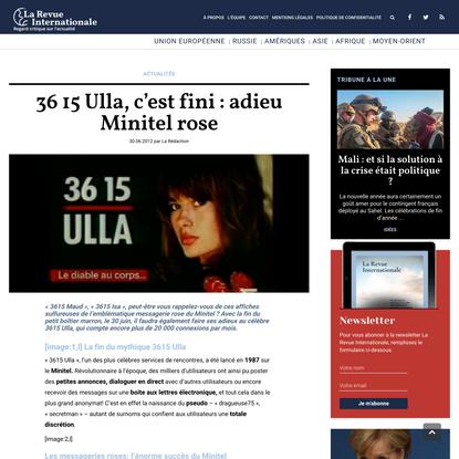 36 15 Ulla, c'est fini : adieu Minitel rose