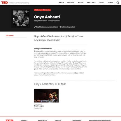Onyx Ashanti | Speaker | TED
