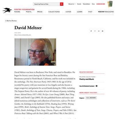 David Meltzer   Poetry Foundation