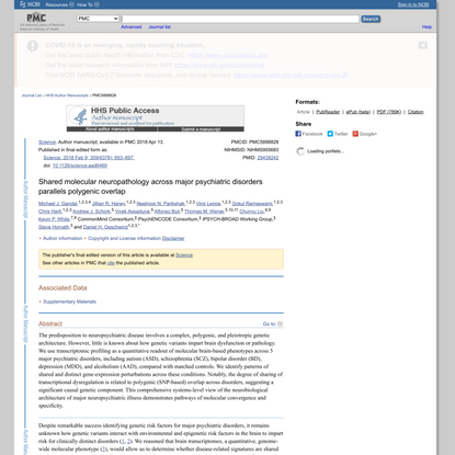 Shared molecular neuropathology across major psychiatric disorders parallels polygenic overlap