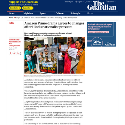 Amazon Prime drama agrees to changes after Hindu nationalist pressure