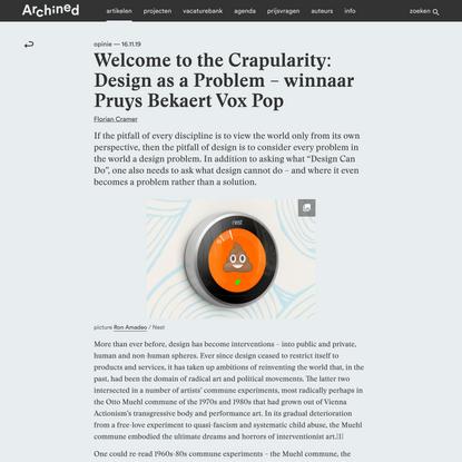 Welcome to the Crapularity: Design as a Problem – winnaar Pruys Bekaert Vox Pop – Archined