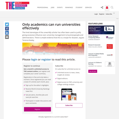 Only academics can run universities effectively