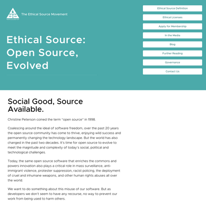 The Ethical Source Movement: Open Source, Evolved.