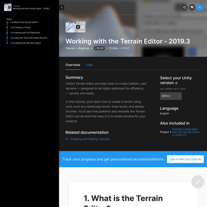 Working with the Terrain Editor - 2019.3 - Unity Learn
