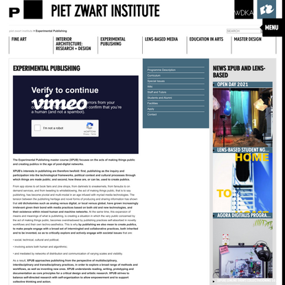 Experimental Publishing | Piet Zwart Institute