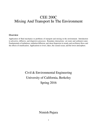 UC Berkeley CEE200C: Mixing and Transport In The Environment