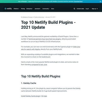 Discover Netlify's Top 10 Build Plugins of 2021