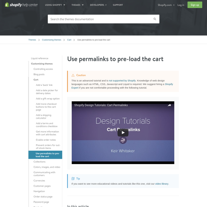 Use permalinks to pre-load the cart
