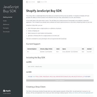 JavaScript Buy SDK