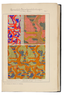 Bindungslehre & Composition, portfolio book with weaving samples by Gustav Groer, 1890. Mährisch Schönberg, K.k. Fachschule für Weberei