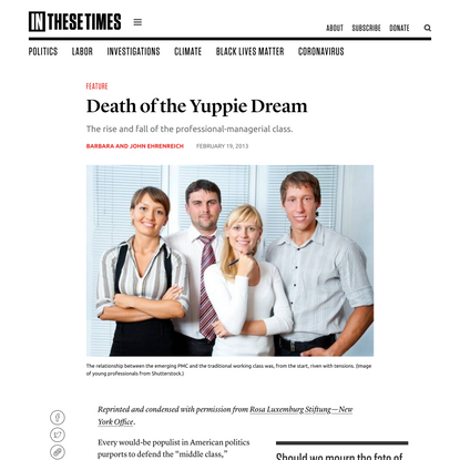 Death of the Yuppie Dream