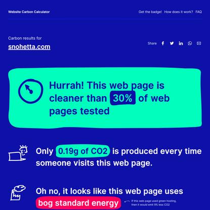 snohetta.com - Website Carbon Calculator